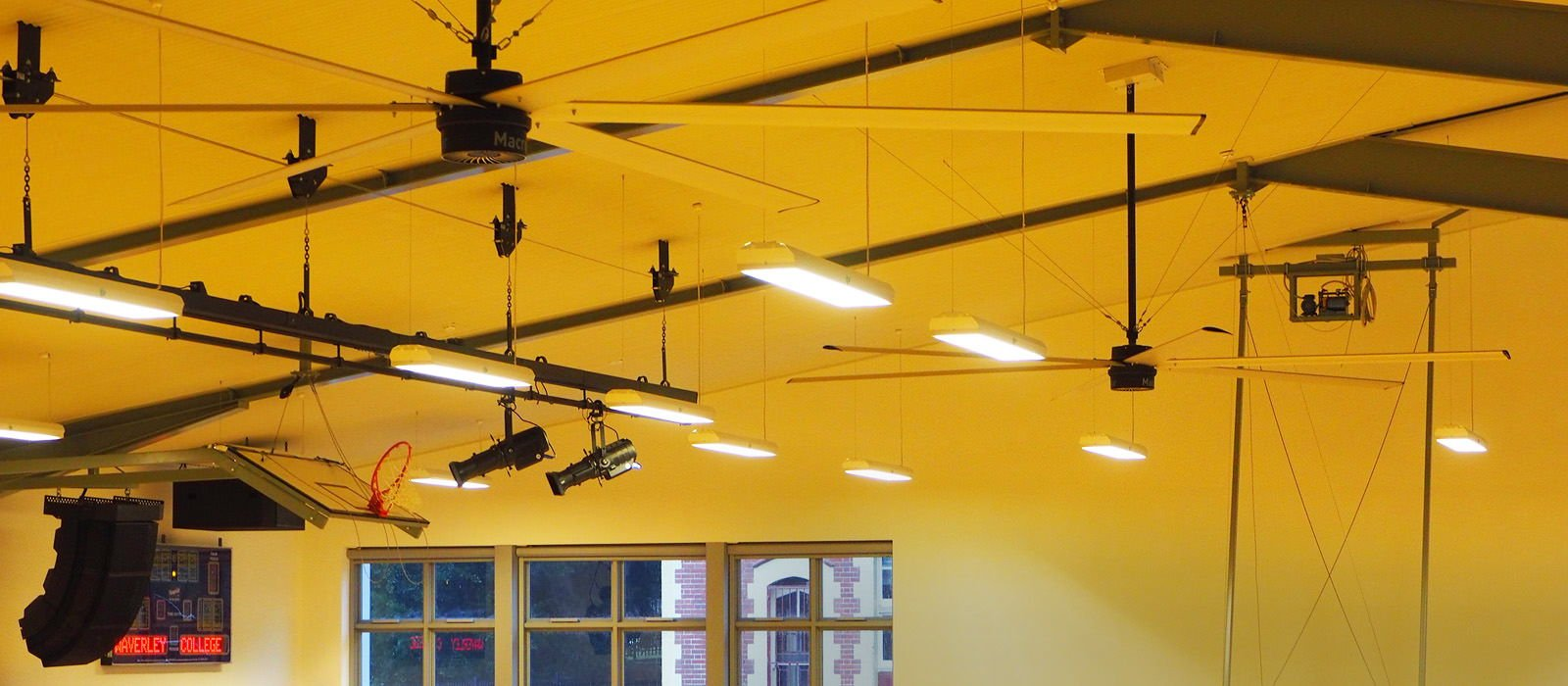 energy saving big fans installation waverley college gymnasium by profan